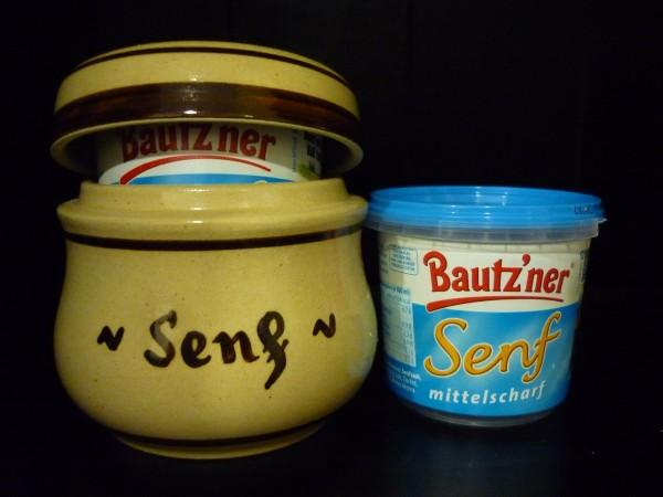 Senftopf - Keramik - Senf - beige - incl. Bautzner Becher