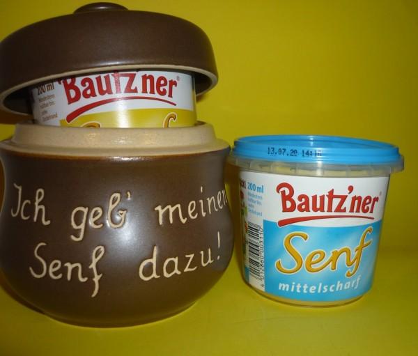 Senftopf Keramik - Ich geb meinen Senf dazu -incl. Bautzner SenfBecher