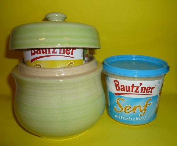 Senftopf hellgrün incl. Bautzner Becher