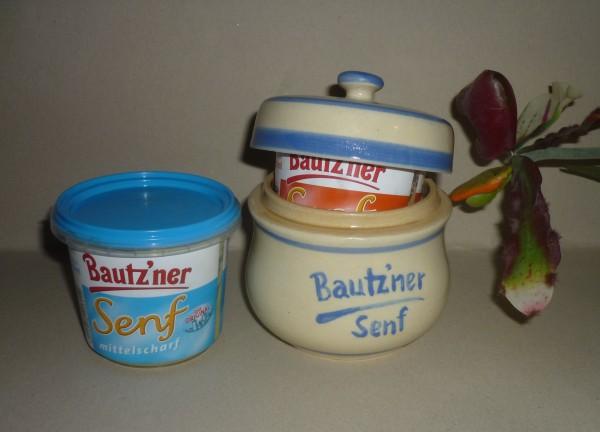 Senftopf - Keramik - Bautzner Senf beige/blau - incl. Bautzner Becher