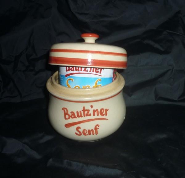 Senftopf - beige/rot - Bautzner Senf - incl. Bautzener Becher - Keramik