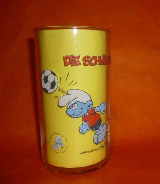 Die Schlümpfe Schlumpf -Fussball Kopfball- Sammelglas develey