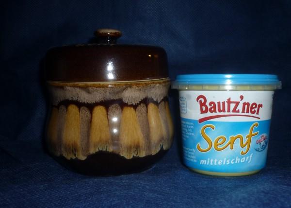 Senftopf - Keramik - uni - braun geflammt incl. Bautzner Becher
