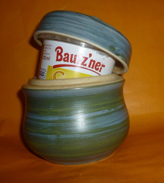 Senftopf blau-grün z.B. für Bautzner Becher