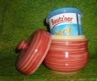 Senftopf - Keramik - rot geringelt- incl. Bautzner SenfBecher