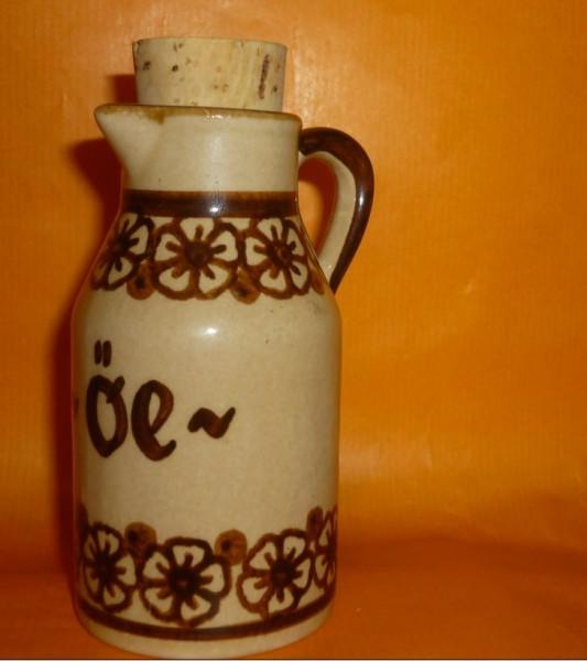 Ton-Henkelflasche beige mit Naturkorken - Öl -