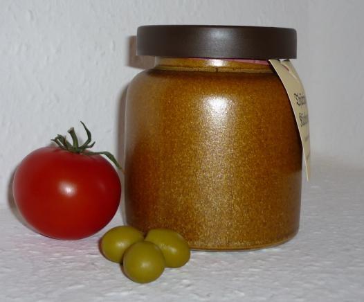 Tomaten - Oliven Senf 270ml Thüringen steingemahlen rustikaler Tontopf