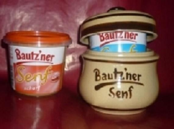 Senftopf - beige/braun - Bautzner Senf - incl. Bautzener Becher - Keramik