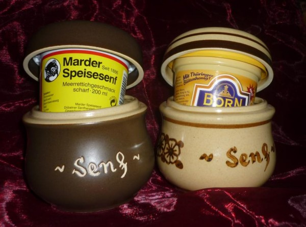 Senftopf - Senf - braun incl. Bautzener Becher