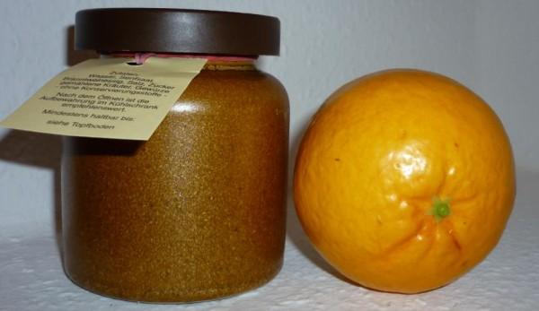 Orangen Senf 270ml Thüringen rustikaler Tontopf