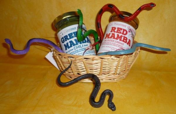 Schlangenkorb je 1 x 100 ml red Mamba, green Mamba