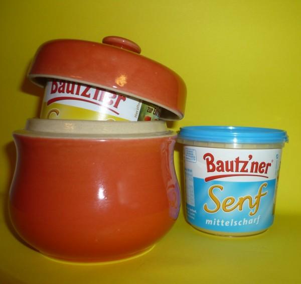 Senftopf - uni rot - incl. Bautzner SenfBecher - Keramik