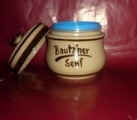 Senftopf - beige/braun - Bautzner Senf - f. Bautzner Becher