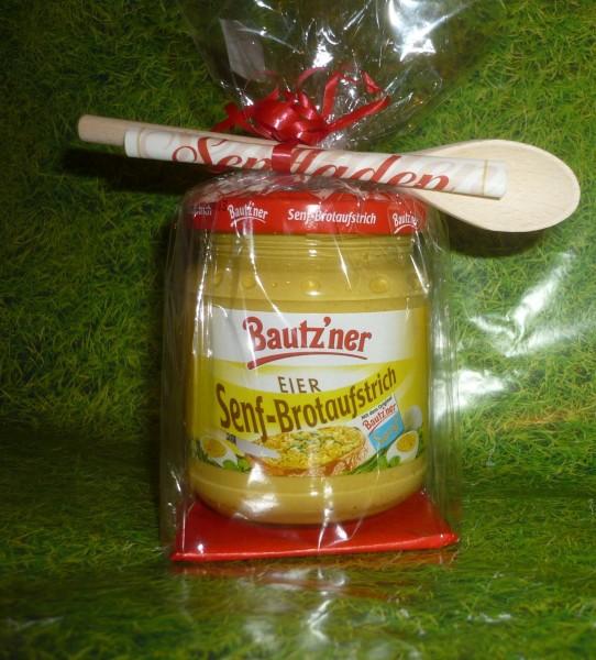 Bautzner Senf - Brotaufstrich - Eier - Geschenkverpackung Naturholzlöffel