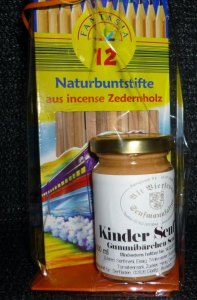 Naturbuntstifte + Kinder Gummibärchen Senf 100ml