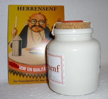 Bio Herren Weißwein Senf 250ml im Porzellantopf