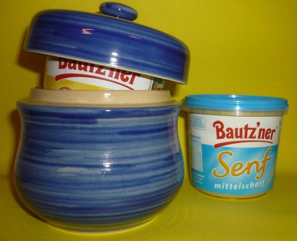 Senftopf -Keramik- blau - incl. Bautzner Becher