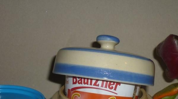 Ersatz Deckel Senftopf beige blau