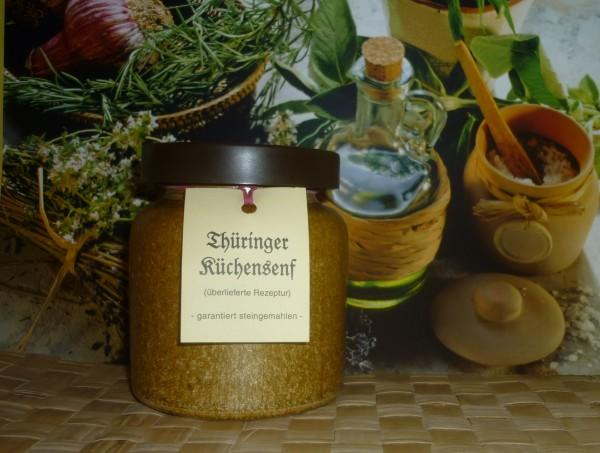 Küchen Senf Thüringen 270ml steingemahlen rustikaler Tontopf
