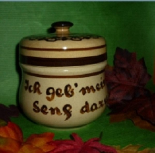Senftopf - Keramik - Ich geb meinen Senf dazu -beige- incl. Bz-Becher