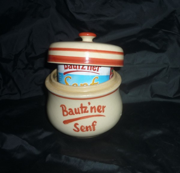 Senftopf - beige/rot - Bautzner Senf - f. Bautzner Becher