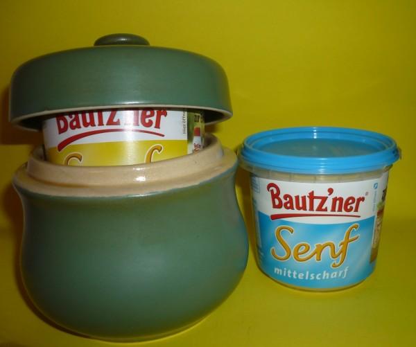 Senftopf grün-uni incl. Bautzner Becher - Keramik