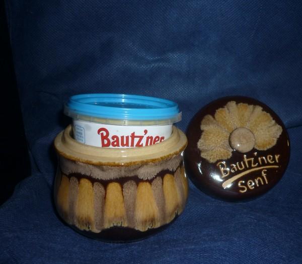 Senftopf - Bautzner Senf - braun geflammt f. Bautzner Beche