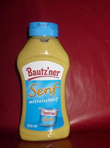 Bautzner mittelscharfer Senf Quetschflasche 300 ml vegan